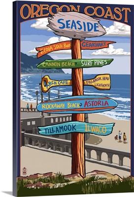 Seaside, Oregon - Destination Sign: Retro Travel Poster