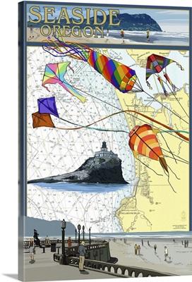 Seaside, Oregon - Nautical Chart: Retro Travel Poster