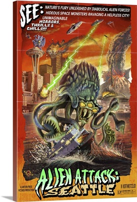 Seattle Alien Attack: Retro Travel Poster
