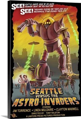 Seattle Versus Astro Invaders: Retro Travel Poster