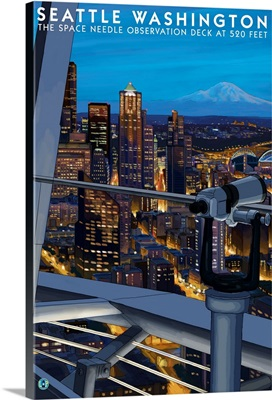 Seattle View from Space Needle: Retro Travel Poster