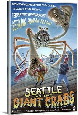 Seattle Vs. the Giant Crabs: Retro Travel Poster
