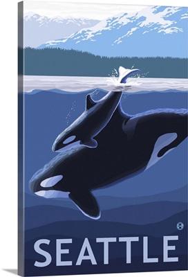 Seattle, WA - Orca and Calf: Retro Travel Poster
