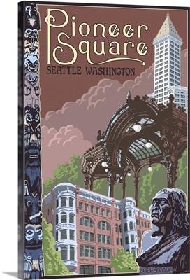 Seattle, WA - Pioneer Square Montage: Retro Travel Poster