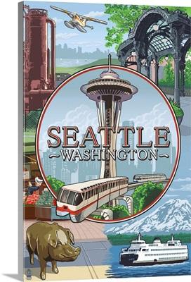 Seattle, WA Scenes Montage: Retro Travel Poster