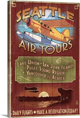 Seattle, Washington - Air Tours Vintage Sign: Retro Travel Poster