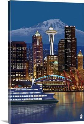 Seattle, Washington at Night - Image Only: Retro Poster Art