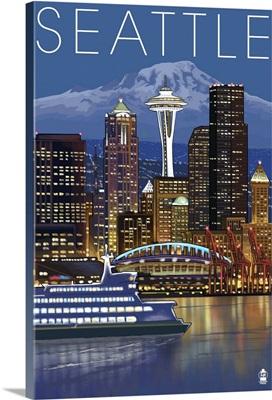 Seattle, Washington at Night: Retro Travel Poster