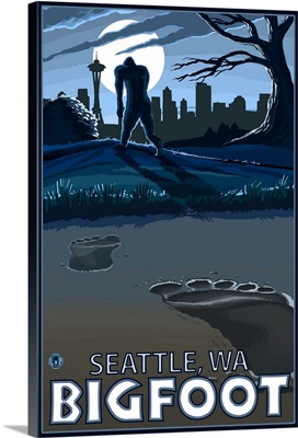 Seattle, Washington Bigfoot: Retro Travel Poster