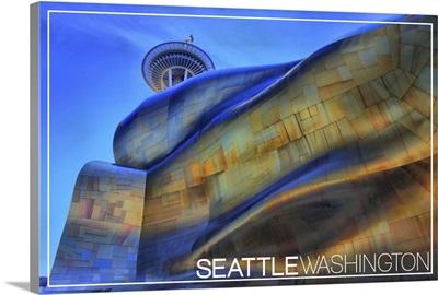 Seattle, Washington - EMP and Space Needle: Retro Postcard
