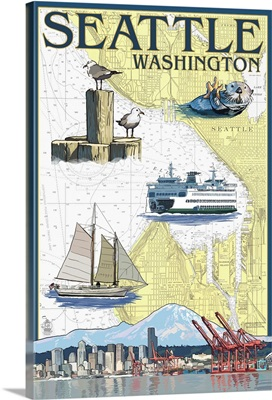 Seattle, Washington - Nautical Chart: Retro Travel Poster