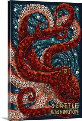Seattle, Washington - Octopus Mosaic: Retro Travel Poster