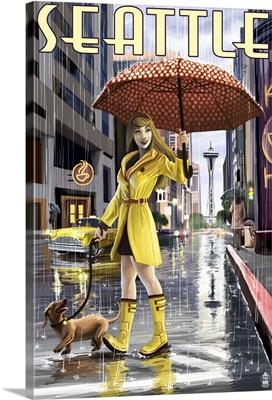 Seattle, Washington - Rainy Day Girl: Retro Travel Poster