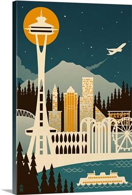 Seattle, Washington Retro Skyline
