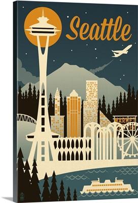 Seattle, Washington - Retro Skyline: Retro Travel Poster