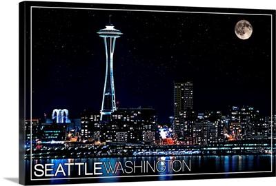 Seattle, Washington - Skyline and Full Moon
