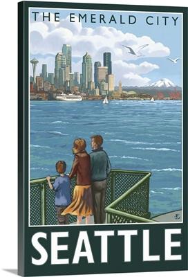 Seattle, Washington Skyline: Retro Travel Poster