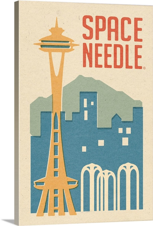 Seattle Wall Art seattle, washington - space needle woodblock: retro travel poster