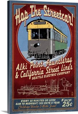 Seattle, Washington - West Seattle Streetcar Vintage Sign: Retro Travel Poster