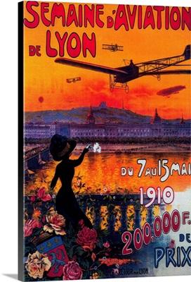 Semaine d' Aviation De Lyon Vintage Poster, Europe