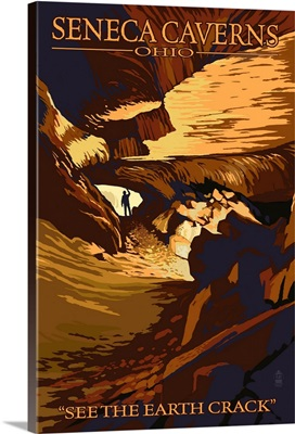 Seneca Caverns, Ohio - Passageway with Explorer: Retro Travel Poster
