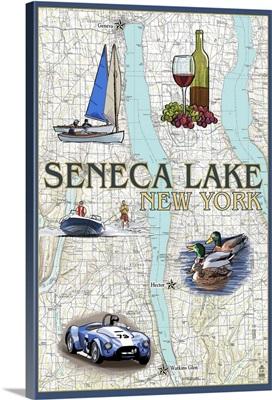 Seneca Lake, New York - Nautical Chart: Retro Travel Poster