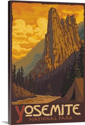 Sentinel Yosemite: Retro Travel Poster