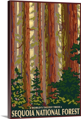 Sequoia National Forest, CA Redwood Trees: Retro Travel Poster