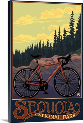 Sequoia National Park - Bike and Trail: Retro Travel Poster