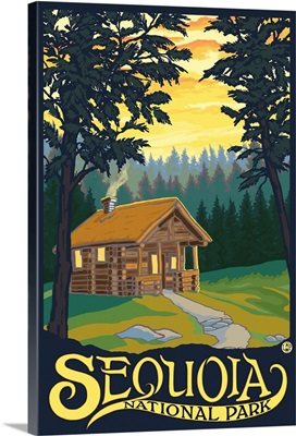 Sequoia National Park - Cabin in Woods: Retro Travel Poster
