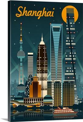 Shanghai, China Retro Skyline