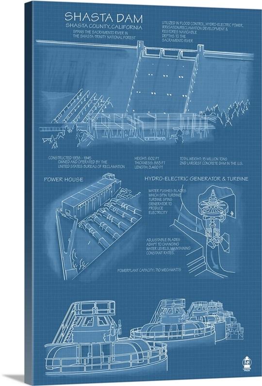 Blueprint Wall Art shasta dam, california - blueprint wall art, canvas prints, framed