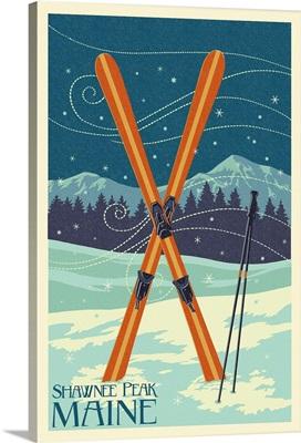 Shawnee Peak, Maine - Crossed Skis - Letterpress: Retro Travel Poster