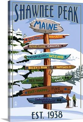 Shawnee Peak, Maine - Ski Signpost: Retro Travel Poster