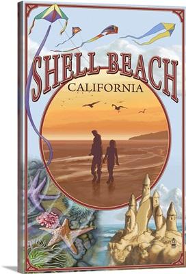 Shell Beach, California Views: Retro Travel Poster