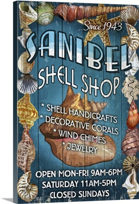Shell Shop Vintage Sign - Sanibel,  Florida: Retro Travel Poster
