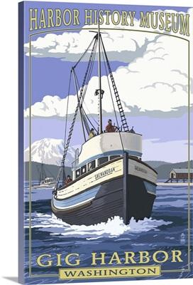 Shenandoah - Harbor History Museum - Gig Harbor, Washington: Retro Travel Poster