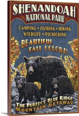 Shenandoah National Park, Virginia - Bear and Cubs Vintage Sign: Retro Travel Poster
