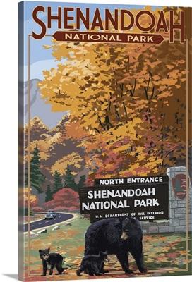 Shenandoah National Park, Virginia - Black Bear and Cubs: Retro Travel Poster