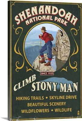 Shenandoah National Park, Virginia - Climb Stony Man Vintage Sign: Retro Travel Poster