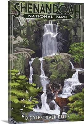 Shenandoah National Park, Virginia - Doyles River Falls: Retro Travel Poster
