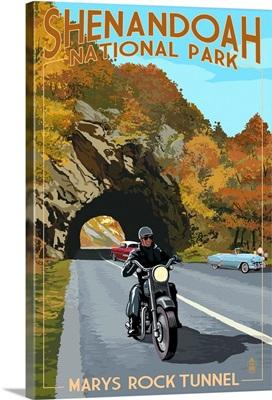 Shenandoah National Park, Virginia - Marys Rock Tunnel Motorcycle: Retro Travel Poster