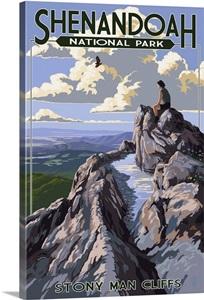 Shenandoah National Park Virginia Stony Man Cliffs View Retro Travel Poster Wall