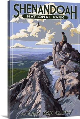 Shenandoah National Park, Virginia - Stony Man Cliffs View: Retro Travel Poster