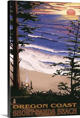 Short Sands Beach, Oregon Coast Scene: Retro Travel Poster
