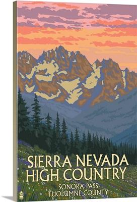 Sierra Nevada High Country - Sonora Pass, California: Retro Travel Poster