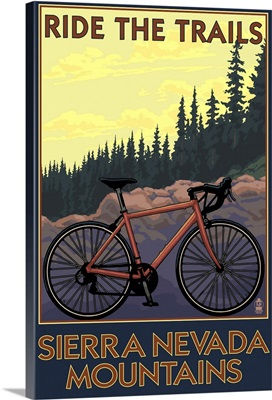 Sierra Nevada Mountains, California - Bicycle on Trails: Retro Travel Poster
