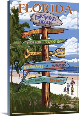 Sign Destinations - Fort Myers Beach,  Florida: Retro Travel Poster