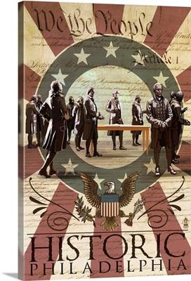 Signing of the Constitution - Philadelphia, Pennsylvania: Retro Travel Poster