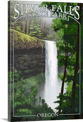 Silver Falls State Park, Oregon - South Falls: Retro Travel Poster